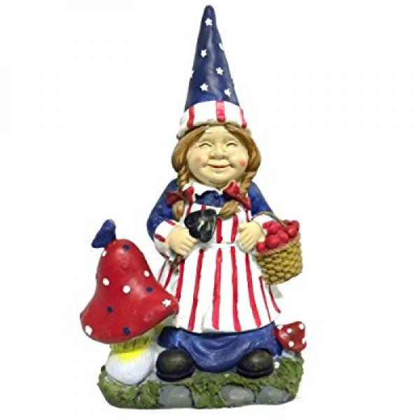 Charming Mrs Gnome Patriotic Garden Statues Whimsical Yard Lawn Flower Bed Sculpture  Accent Americana Decoration