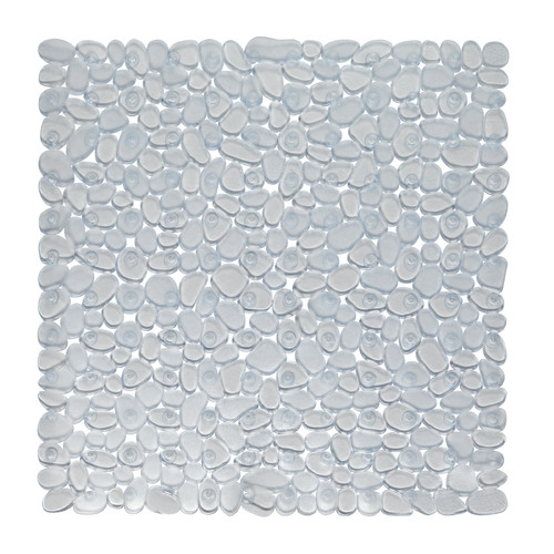 "Stall Size""Pebbles"" Vinyl Bath Mat in clear"