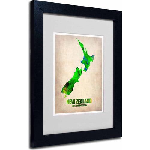 "Trademark Fine Art ""New Zealand Watercolor Map"" Matted Framed Art by Naxart, Black Frame"