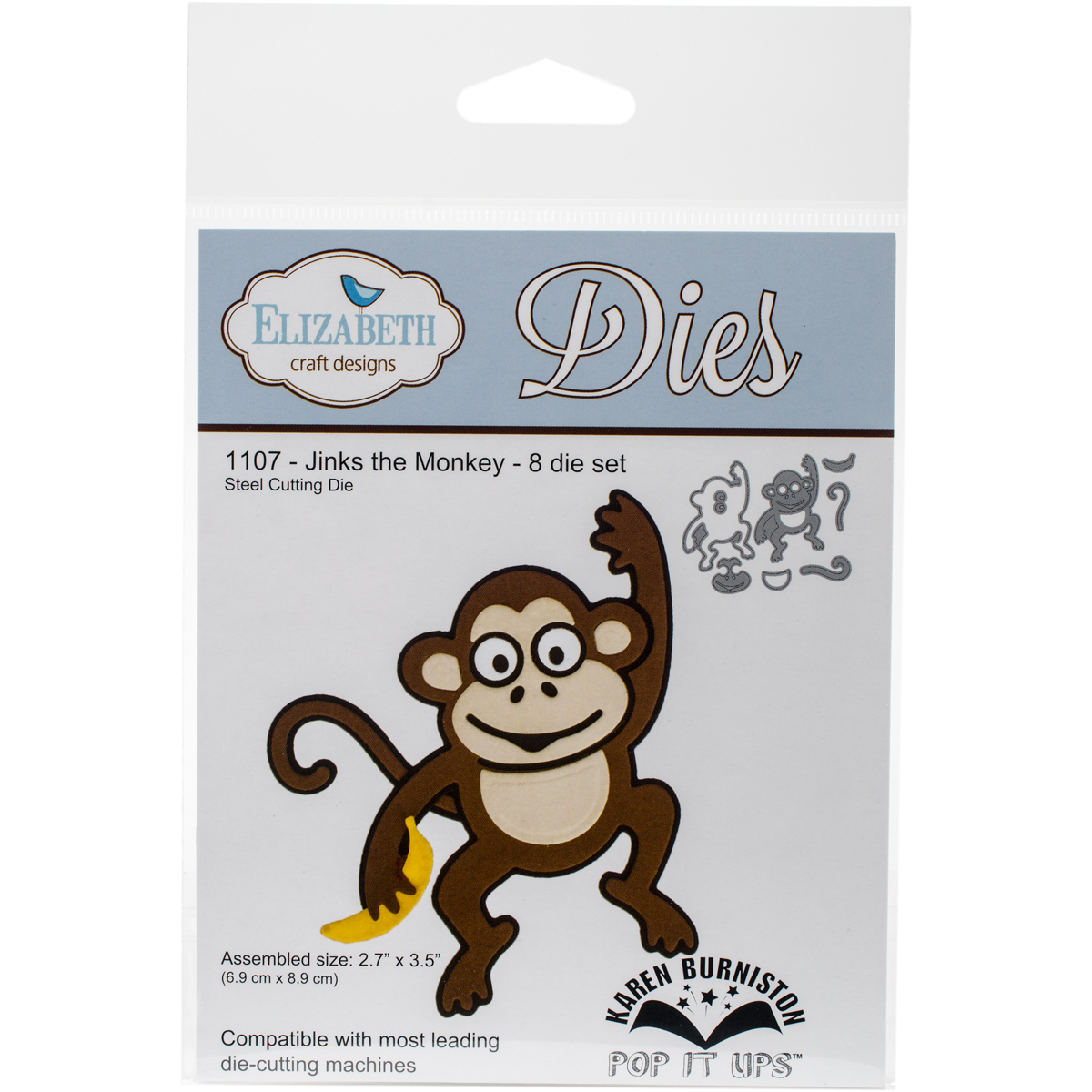 "Elizabeth Craft Pop It Up Metal Dies By Karen Burniston-Jinks The Monkey, 2.7""X3.5"""