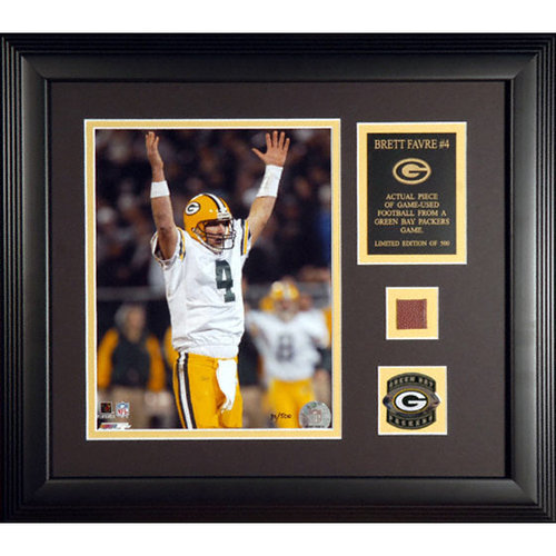 NFL - Brett Favre Green Bay Packers Framed 8x10 Photograph with Football Piece and Descriptive Plate