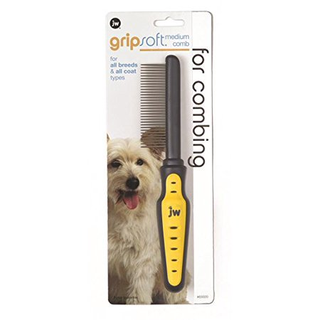 JW Pet Company GripSoft Medium Comb for Dogs The Grip Soft Medium Comb can be used on breeds of all types to remove tangles, mats, loose hair and dirt. Start with this comfortable ergonomically designed comb to gently loosen mats and then follow up with the JW Slicker or Pin brush depending on the type of coat.
