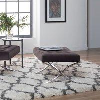 Studio Designs Home Atrium Velvet Tufted Ottoman in Chrome / Mink Brown