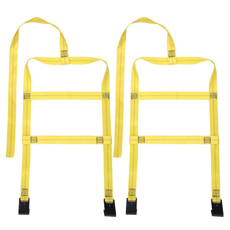 2PCS Car Basket Straps Adjustable Tow Dolly Wheel Net Set Flat Hook TPBY by