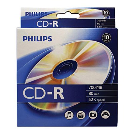 Philips Accessories Peripherals - Philips Cr7d5bb10/17 700MB CD-Rs, 10-ct Peggable Box