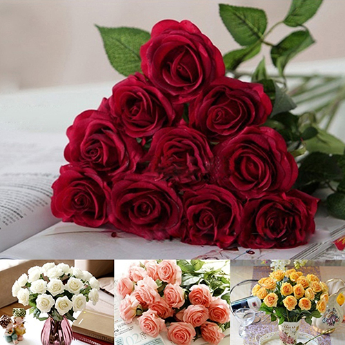 Girl12Queen 10 Pcs Artificial Latex Rose Flowers Wedding Party Office Table Bouquet Home Decor
