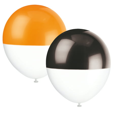 Sculpture Balloon Halloween (Latex Two Tone Dipped Halloween Balloons, Orange and Black, 12in,)