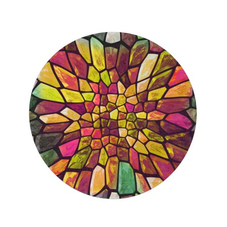 JSDART 60 inch Round Beach Towel Blanket Colorful Abstract Mosaic Color Big Gap Bending Block Ceramic Travel Circle Circular Towels Mat Tapestry Beach Throw - image 2 of 2
