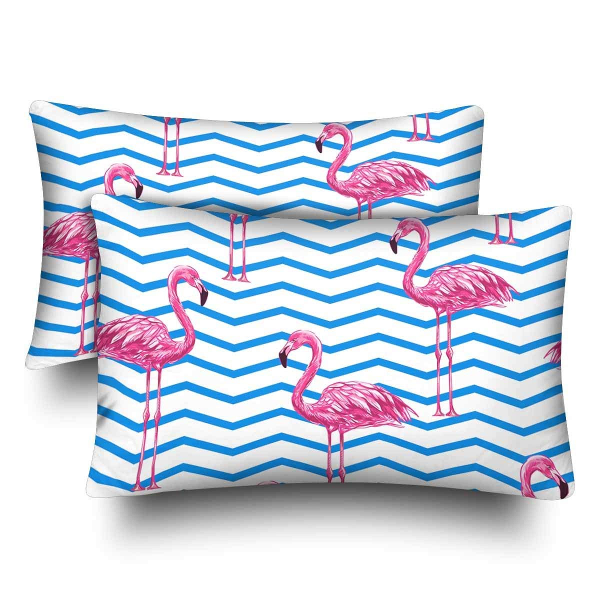 GCKG Beautiful Floral Tropical Pink Flamingo Abstract Chevron Pillow Cases Pillowcase 20x30 inches Set of 2 - image 4 of 4