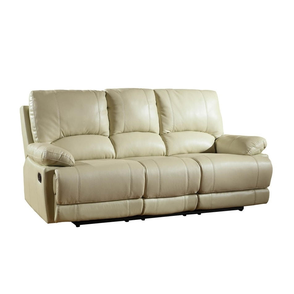 Global Furniture 9345 Contemporary Beige Leather Air / Match Recliner Sofa