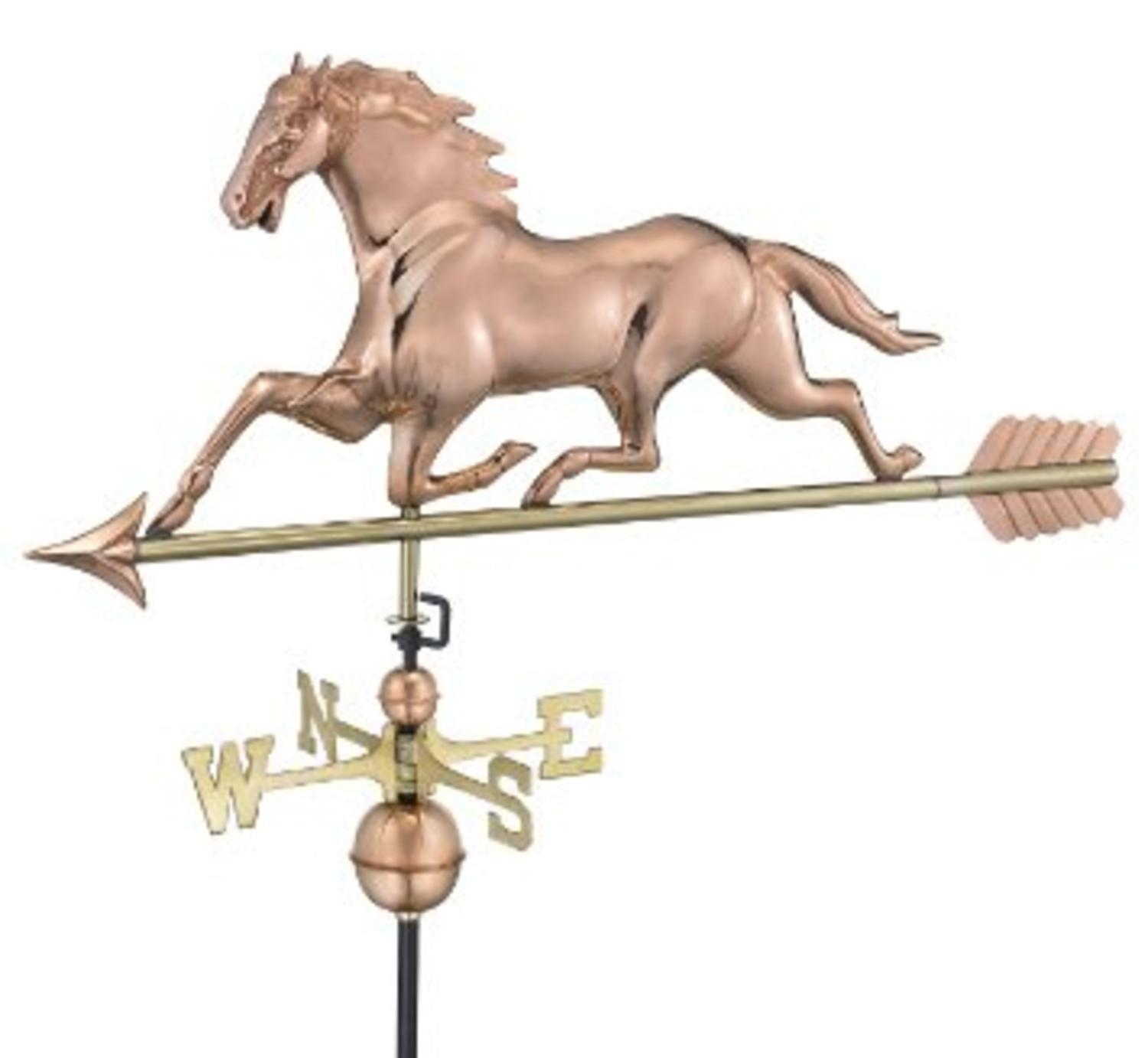 "45"" Polished Copper Galloping Horse Outdoor Weathervane with Arrow"