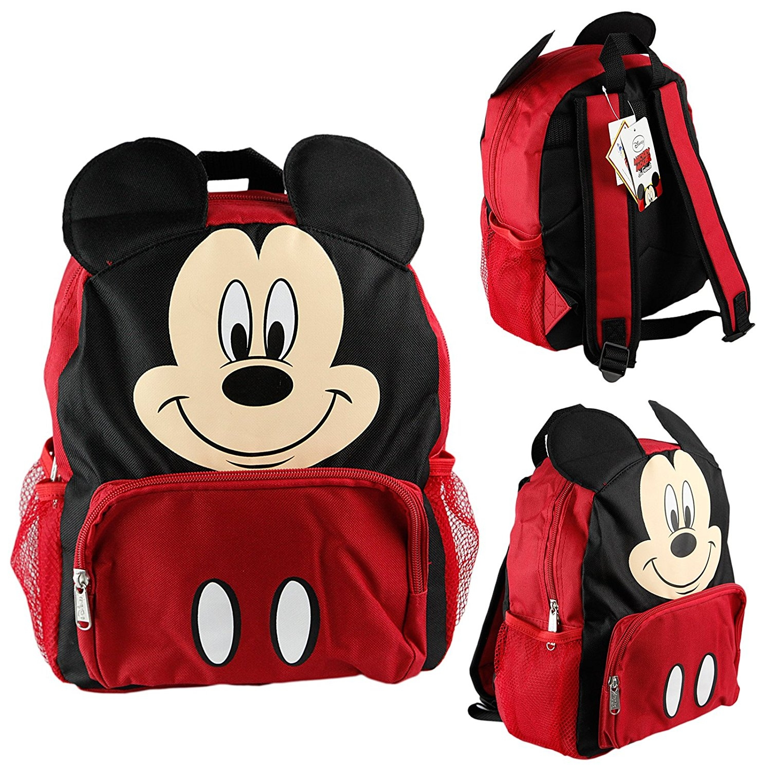"Disney Mickey Mouse Kids 12"" Toddler School Backpack Canvas Book Bag w/Molded Face"