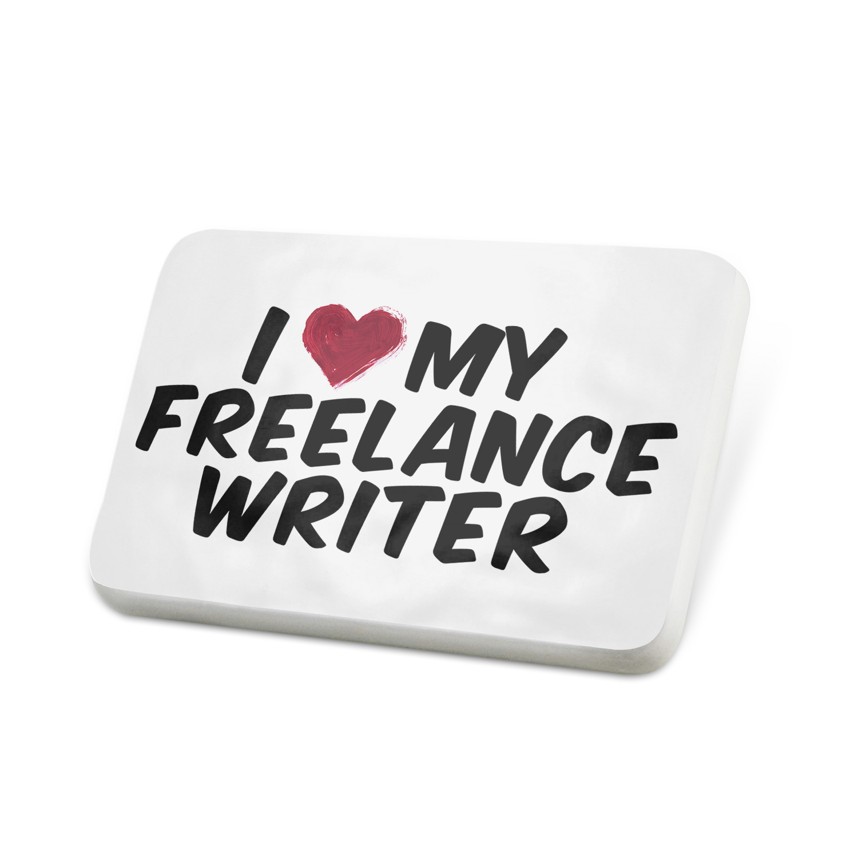 Porcelein Pin I heart love my Freelance Writer Lapel Badge – NEONBLOND