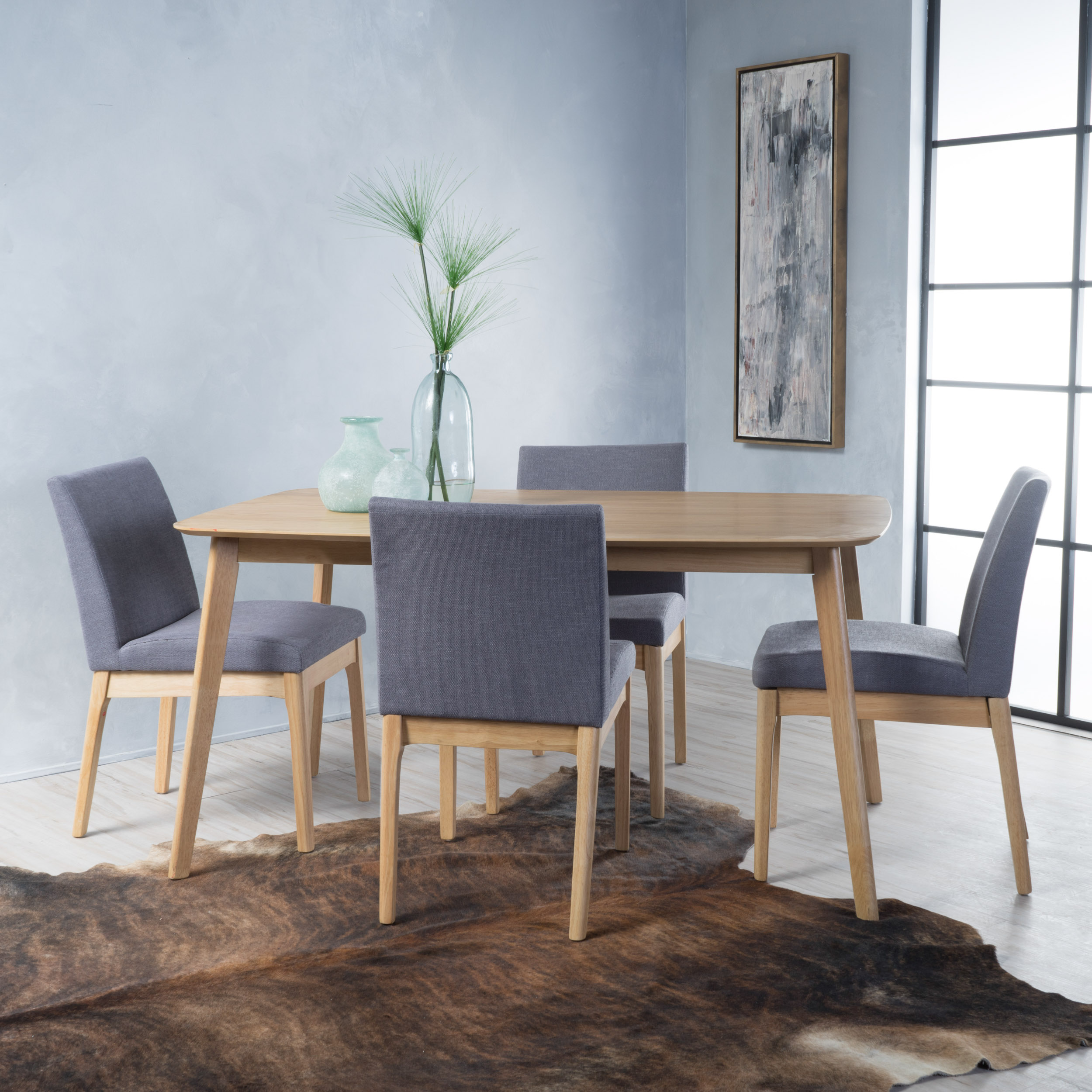 Noble House Caruso Natural Oak Wood Dark Grey5 Piece Dining Set