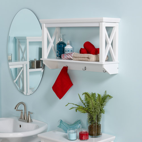 RiverRidge X-Frame Wall Shelf with Hooks, White