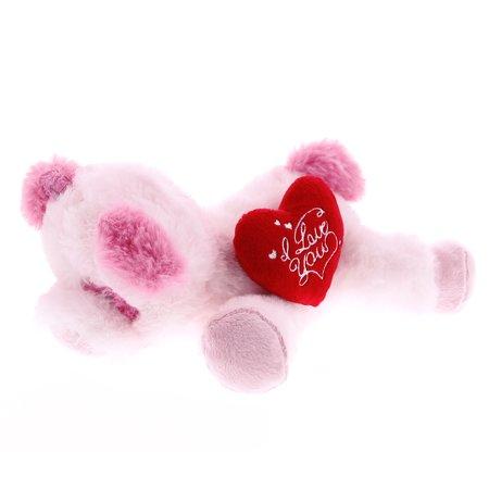 Super Soft Plush Dollibu Pink Lying Pig I Love You Valentines Plush