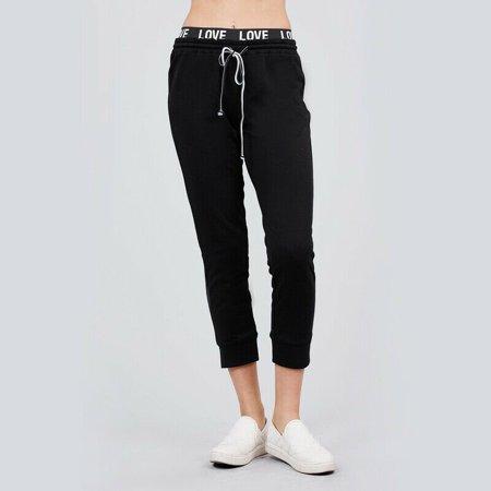 Womens LOVE Logo Waistband Fleece Thermal Sweatpants Joggers Track Pants Pajamas