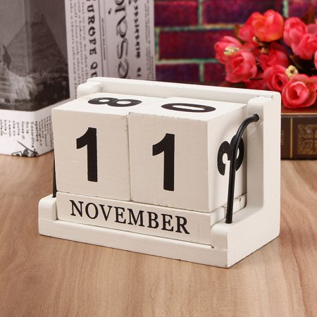 Marsin Retro White Wooden Perpetual Calendar Manual Wood Block Small Desk Home Decoration Office Decor
