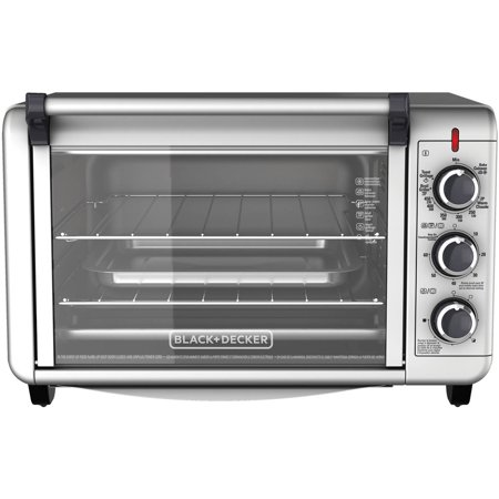 ... +DECKER 6-Slice Convection Countertop Toaster Oven, Silver, TO3000G