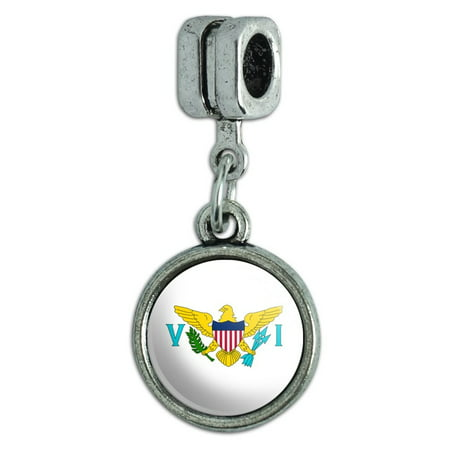 The United States Virgin Islands National Country Flag Italian European Style Bracelet Charm Bead