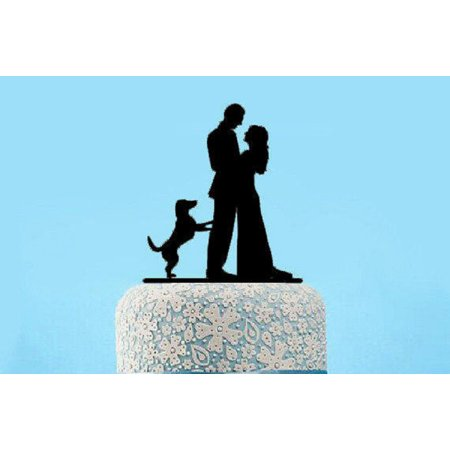 Buythrow Acrylic Wedding Cake Topper of with Bride and Groom Kissing and Dog Pet Pack of 1 Engagement, Anniverary, Bridal shower - Killing Pets On Halloween