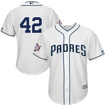 meet 360e1 97a47 San Diego Padres Majestic 2019 Jackie Robinson Day Official Cool Base  Jersey - White