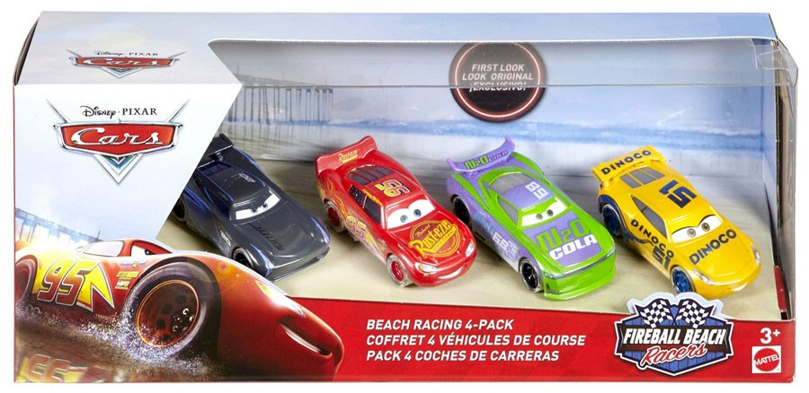 Disney Cars Fireball Beach Racers Beach Racing Diecast Car 4-Pack [McQueen, H.J. Hollis, Dinoco Cruz Ramirez & Jackson Storm]