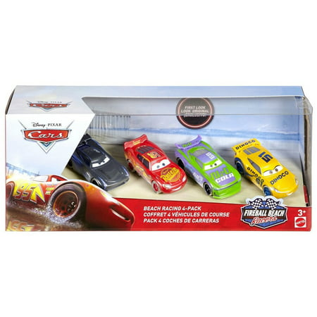 Disney Cars Fireball Beach Racers Beach Racing Diecast Car 4-Pack [McQueen, H.J. Hollis, Dinoco Cruz Ramirez & Jackson -
