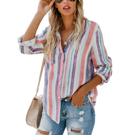 43818094184d3f Sexy Dance - Women Long Sleeve V-neck Lapel Loose Tops T Shirt OL Ladies  Colorful Striped Casual Button Blouse - Walmart.com
