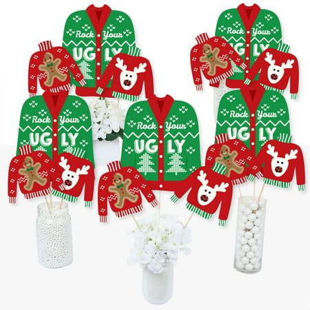 Ugly Sweater - Holiday & Christmas Party Centerpiece Sticks - Table Toppers - Set of 15 - Round Wood Centerpiece