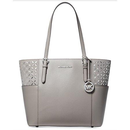 Michael Kors Suede Jet Set Travel Tote  Handbag, Pearl Grey Silver
