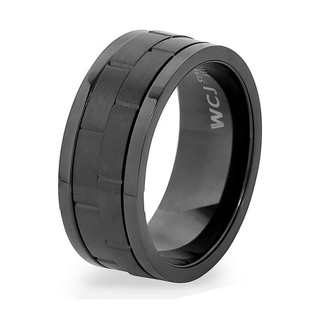 Black Onyx Stainless Steel Ring (Black Plated Stainless Steel Dual Spinner Ring (9mm))
