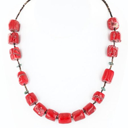 230 Authentic Made by Charlene Little Navajo .925 Sterling Silver Natural Turquoise Coral Native American (Turquoise Coral Necklace)