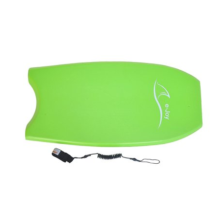 Super Lightweight Body board with Coiled Leash Slick Bottom, Perfect surfing By e-Joy