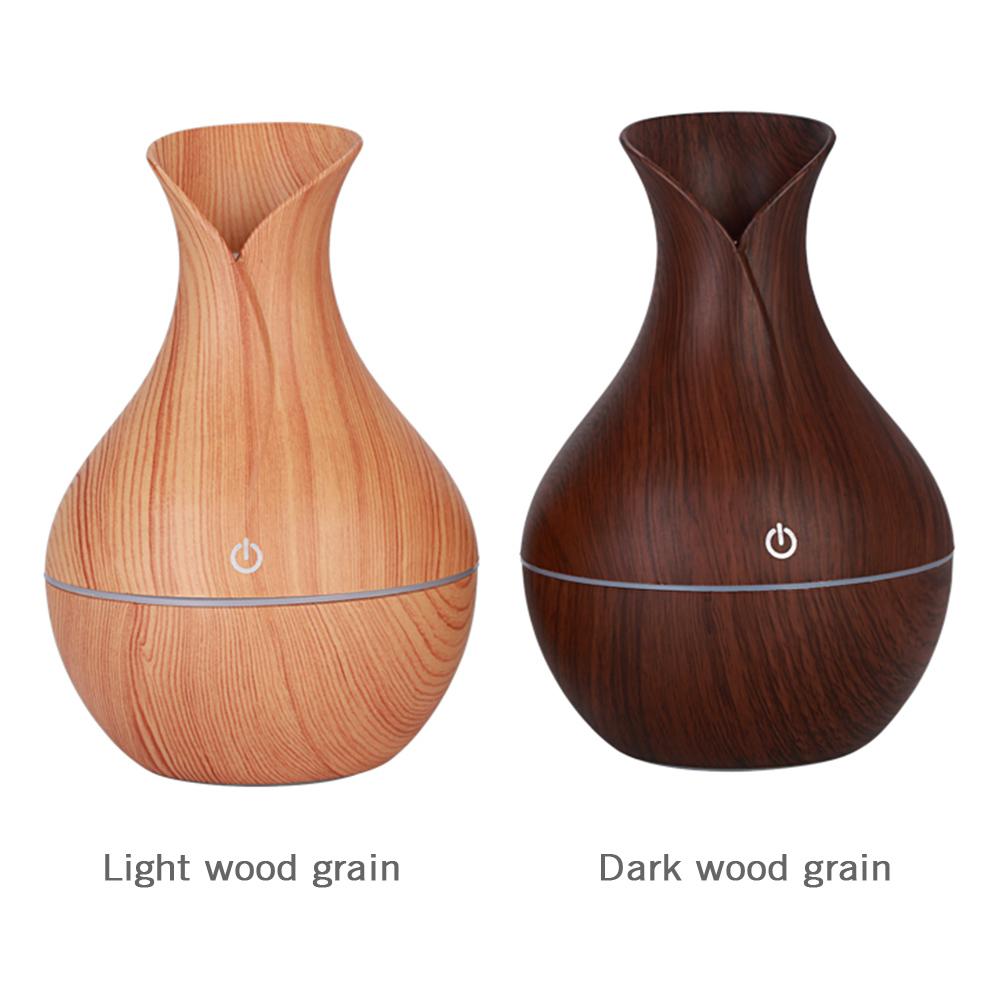 130ml Aroma Diffuser Creative Vase Wood Mini Mute USB Air