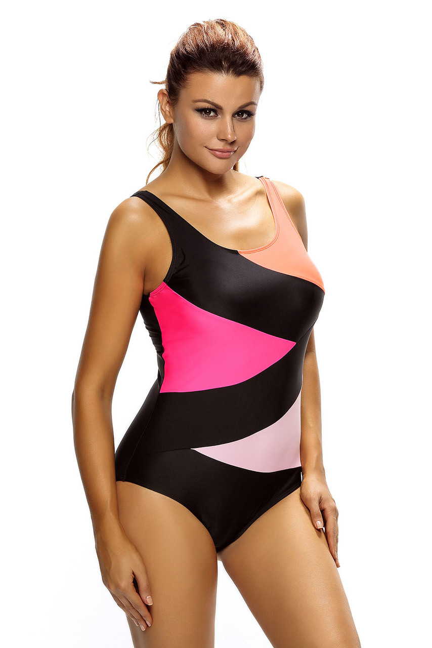 Cali Chic Women's Swimsuit Celebrity Sexy Color Block Front Lace up Black One Piece