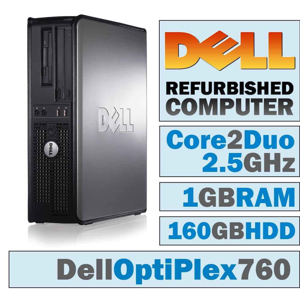 REFURBISHED Dell OptiPlex 760 DT/Core 2 Duo E7200 @ 2.53 GHz/1GB DDR2/160GB HDD/DVD-RW/WINDOWS 7 HOME 32 BIT