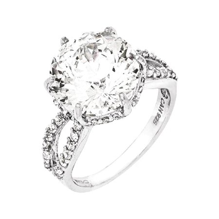 IceCarats 925 Sterling Silver 100 Facet Cubic Zirconia Cz Band Ring Size 7.00   Fine Jewelry Gift Valentine Day Set For Women Heart - Rings For Valentine's Day