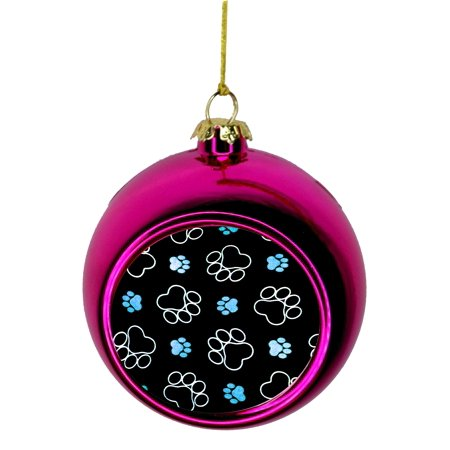Blue Puppy Pawprints Christmas Ornaments Pink Bauble Christmas Ornament Balls