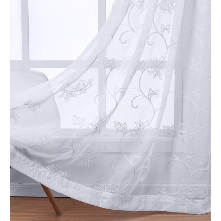 Pair (Set of 2 ) Andora Embroidered Grommet Top Sheer Panel Curtain - 54x63 - White