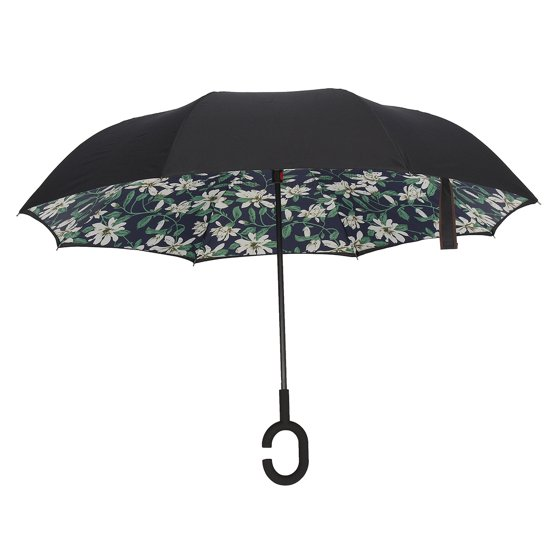 M way 190T C-Handle Reverse/Inverted Large Double Layer Waterproof Straight  Umbrella, Self-Standing Windproof Windproof UV Protection for Free Hands