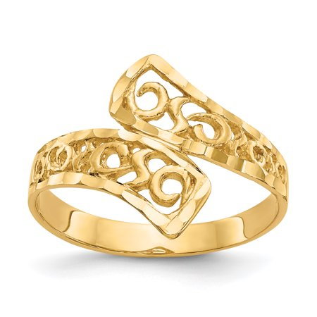 14k Yellow Gold By Pass Lace Band Ring Size