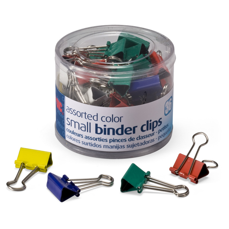 Officemate Small Binder Clips, Assorted Colors, 36 Clips per Tub (31028)