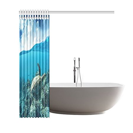 GCKG Ocean Underwater World Shower Curtain, Sea Turtle Polyester Fabric Shower Curtain Bathroom Sets 66x72 Inches - image 2 of 3