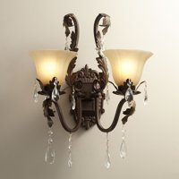 "Regency Hill Wall Light Sconce Iron Leaf Roman Bronze Hardwired 15 1/2"" High 2-Light Fixture Crystal Scroll Arms Bedroom Bathroom"