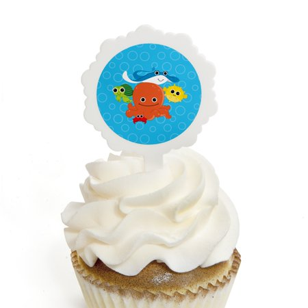 Under the Sea Critters - Cupcake Picks with Stickers - Baby Shower or Birthday Party Cupcake Toppers - 12