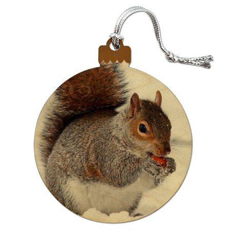 Squirrel Eating in Winter Wood Christmas Tree Holiday Ornament ()