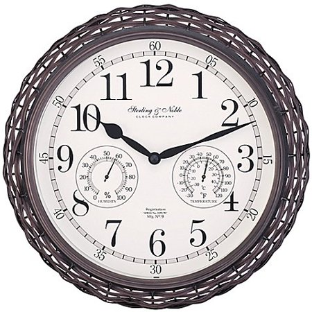 Dark Woven Indoor Outdoor Wall Clock In Brown Give Your