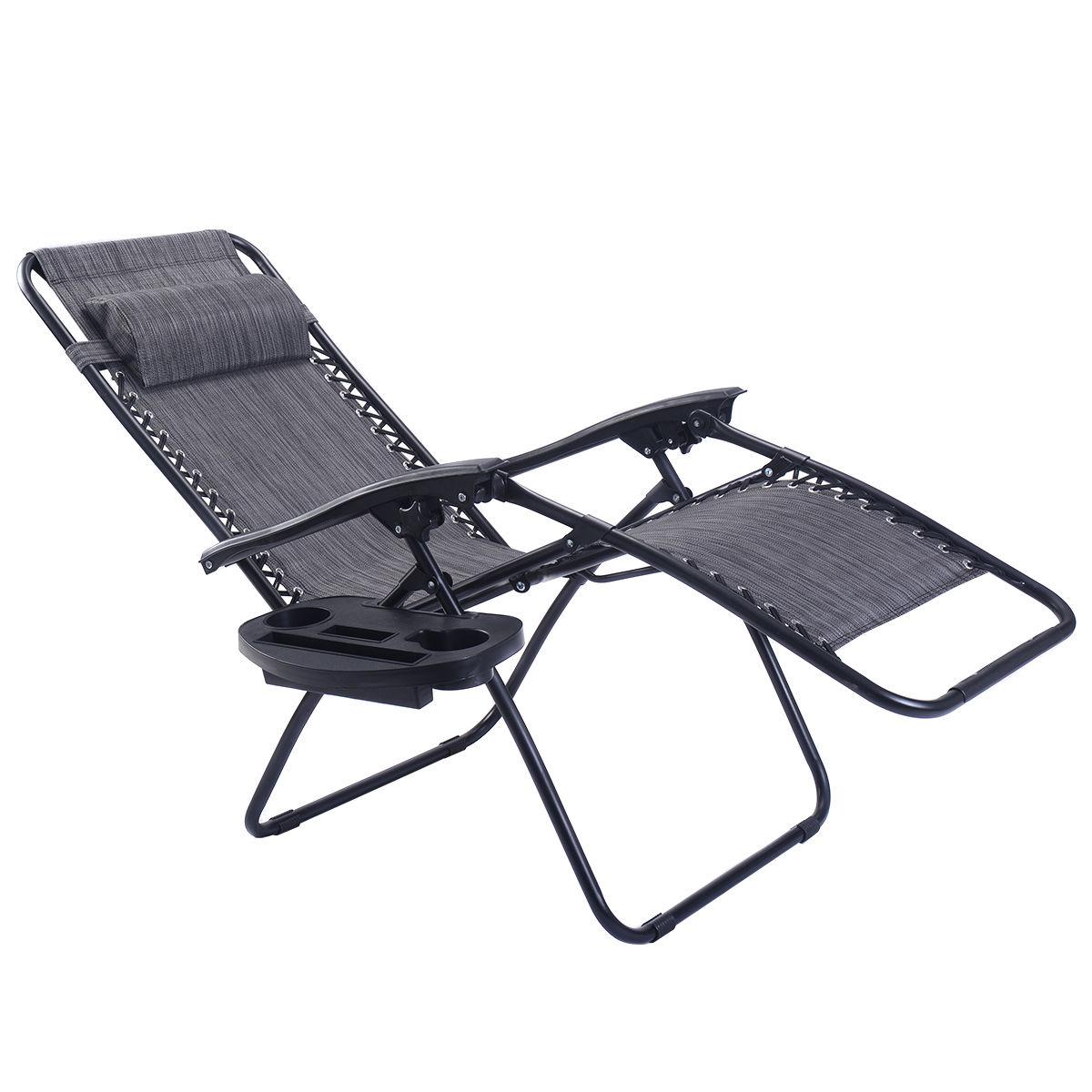 2PC Folding Zero Gravity Reclining Lounge Chairs Beach Patio W/ Utility Tray - image 7 of 8