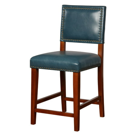 Linon Blake Counter Stool  Pacific Blue  24 Inch Seat Height